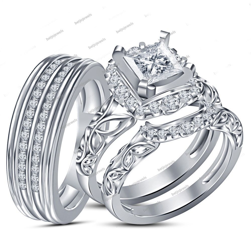 1.09 Carat Princess Cut Simulated Diamond 3 Pieces Bride & Groom Trio Ring Set