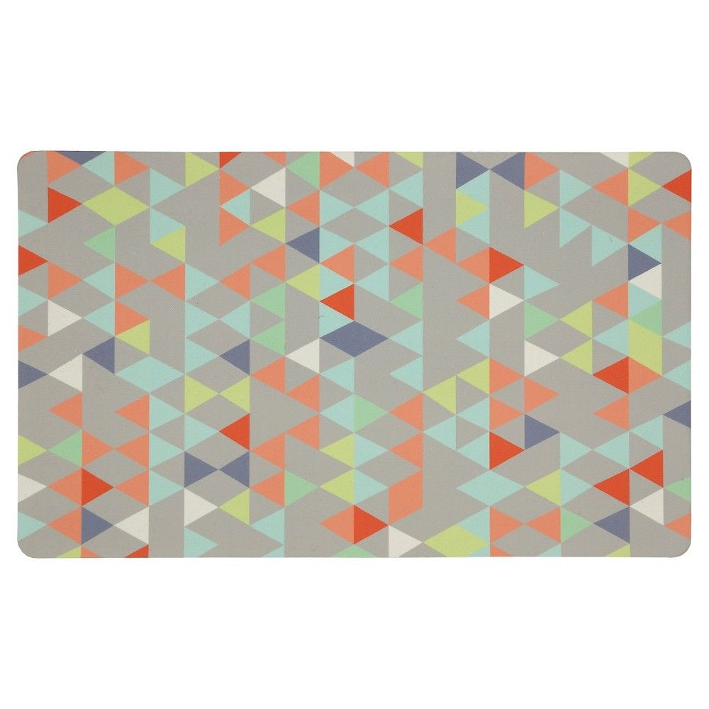 "Mohawk Loose Triangles Kitchen Rug - Gray (18""x30""), Grey"