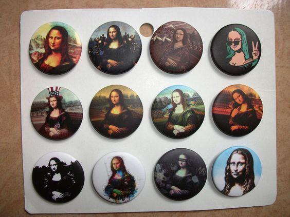 Mona Lisa,Badge,pin,Pinback of 12 pcs,size 32 mm,Rare #MonaLisa