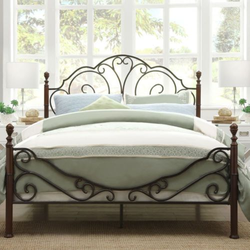 Full-Size Regal Bronze Brown Metal Iron Bed Frame Poster Bed ...