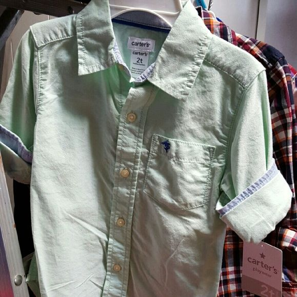 Carters NWT BUTTON DOWN 2T GREEN TOP ONLY. Great brand and fit  Perfect for this time of yr weather. Enjoy! Gymboree  Tops Button Down Shirts