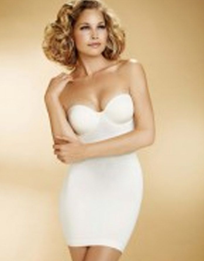 This beautiful white shapewear slip is a slip that won`t ride up ...
