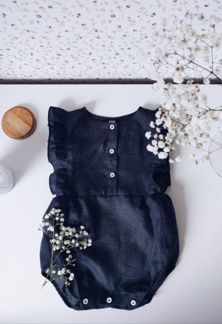 c50c5705cbd5 Handmade Black Linen Ruffled Baby Romper