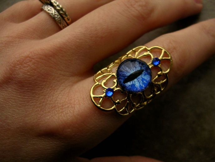 Golden Elegance Armor Ring - Gothic Steampunk Glow Dragon Eye - Blue Sky Cerulean - Teal Adjustable Ring Filigree - Fantasy Elven Fairy Elf by LadyPirotessa, $29.98 USD