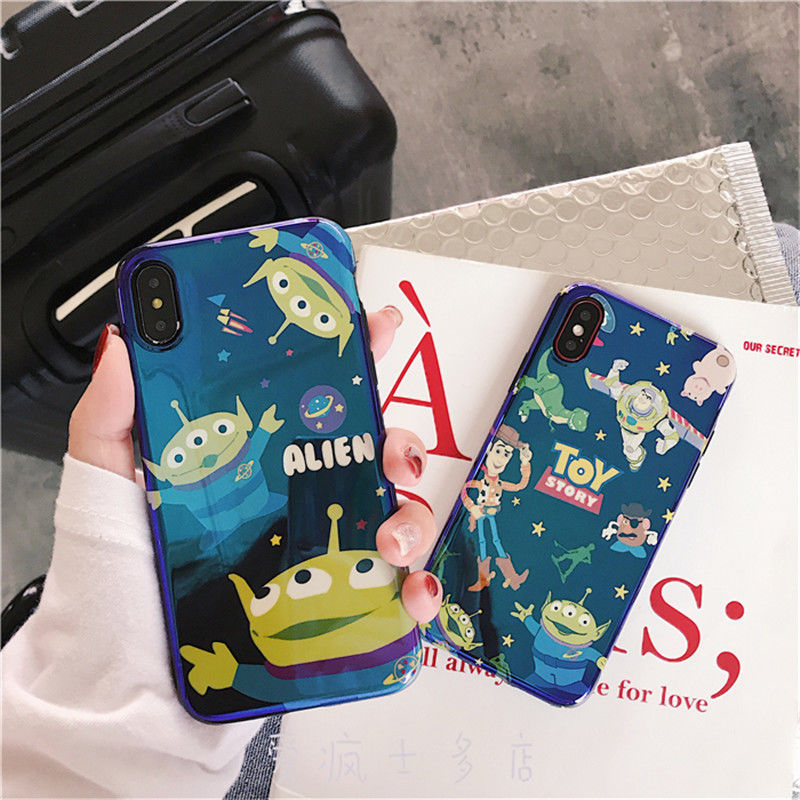 Cartoon disney toy story alien laser case cover for iphone