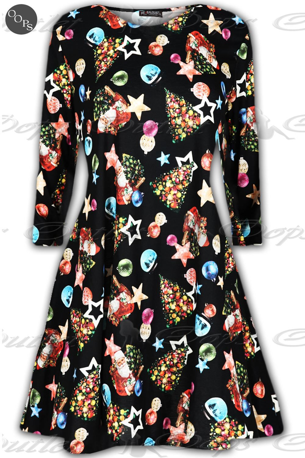 ladies christmas flared swing dress womens funny xmas