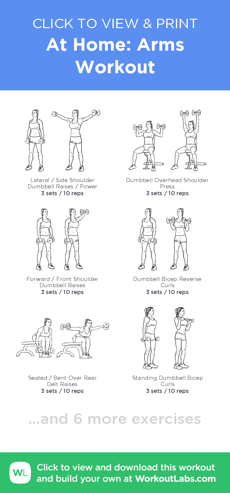 At Home Arms Workout Click To View And Print This Illustrated Exercise Plan Created With Workoutlabsfi Arm Workout Upper Body Dumbbell Workout Workout Labs