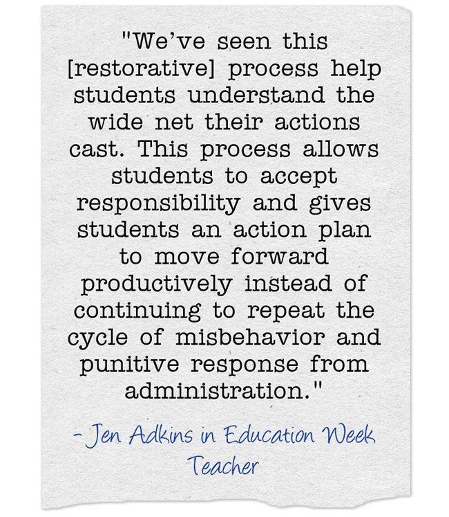 Response How To Practice Restorative Justice In Schools Opinion Restorative Justice Student Motivation Teachers