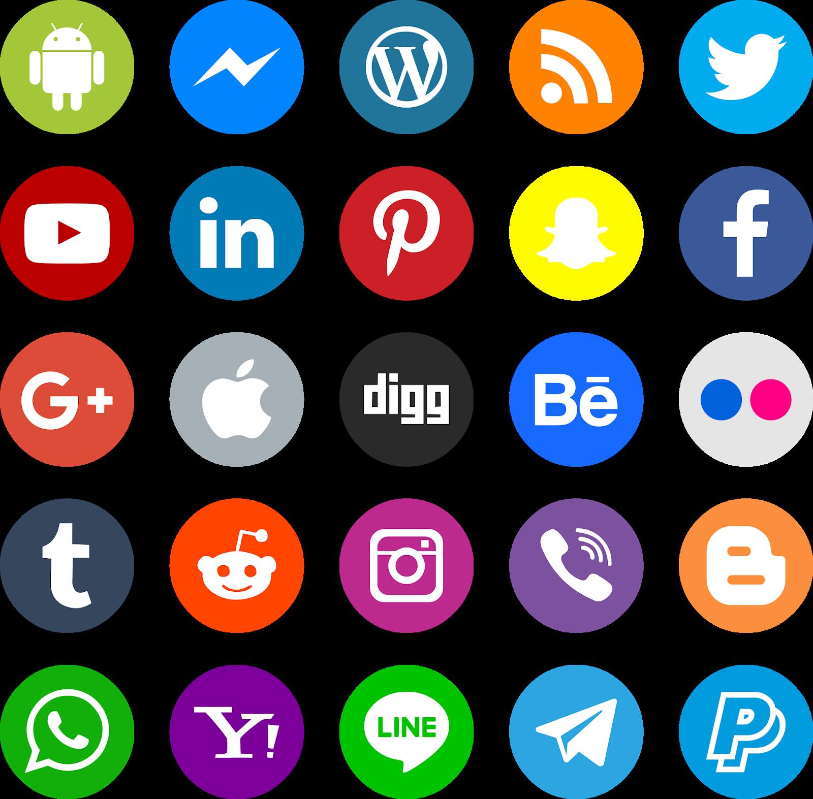 تحميل أيقونات مواقع التواصل الاجتماعي بصيغة psd png