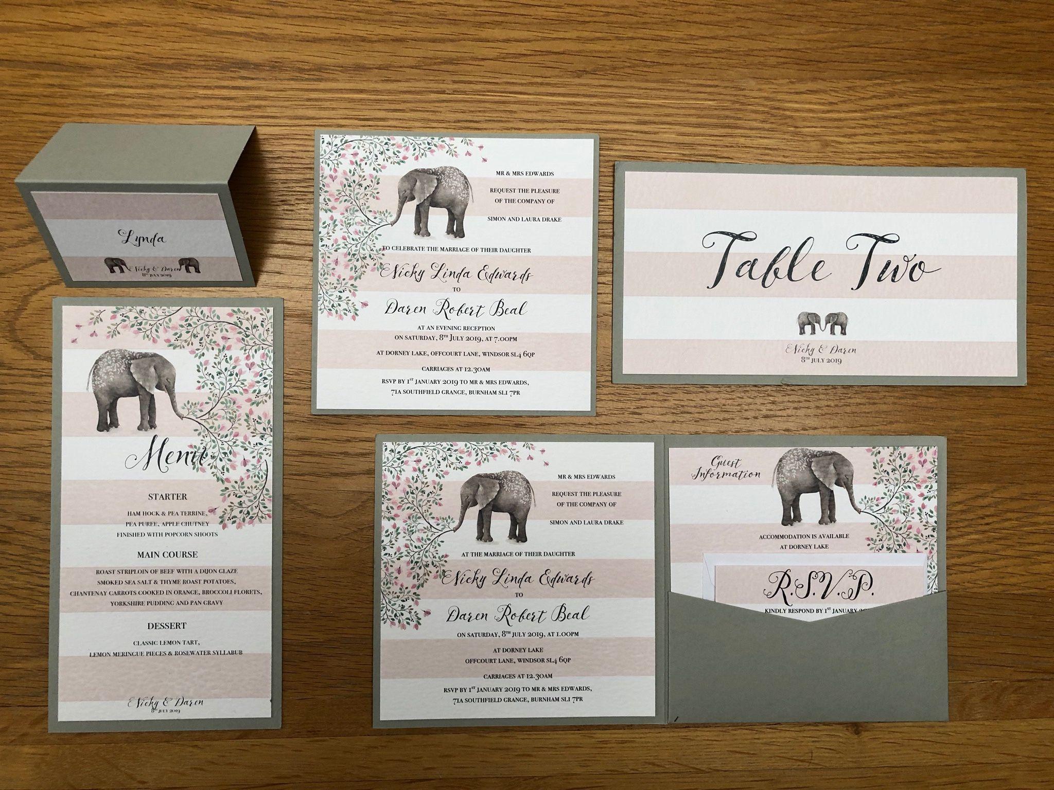 Ellie elephant wedding stationery range from Sew-Unique wedding ...
