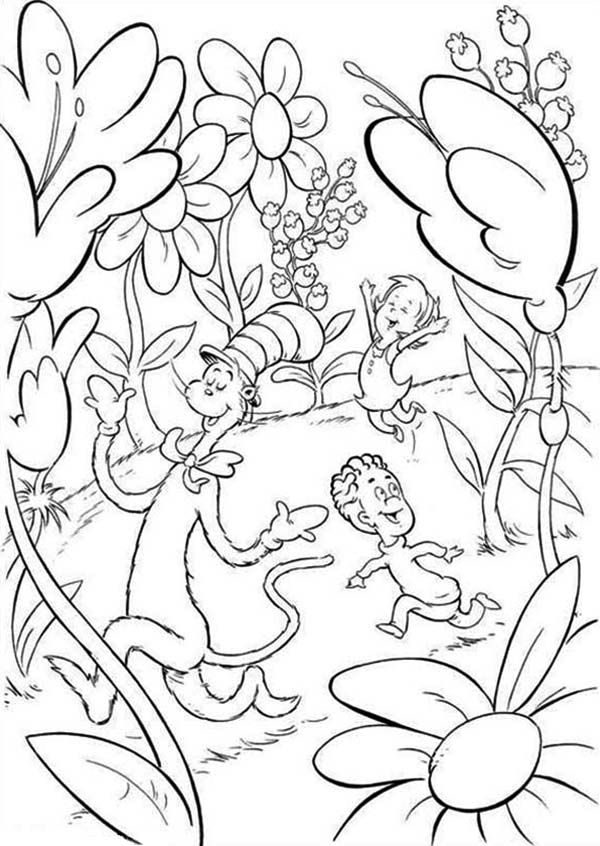 The Cat In Hat Sally And Her Brother Walk Outside House Dr Seuss Coloring Page