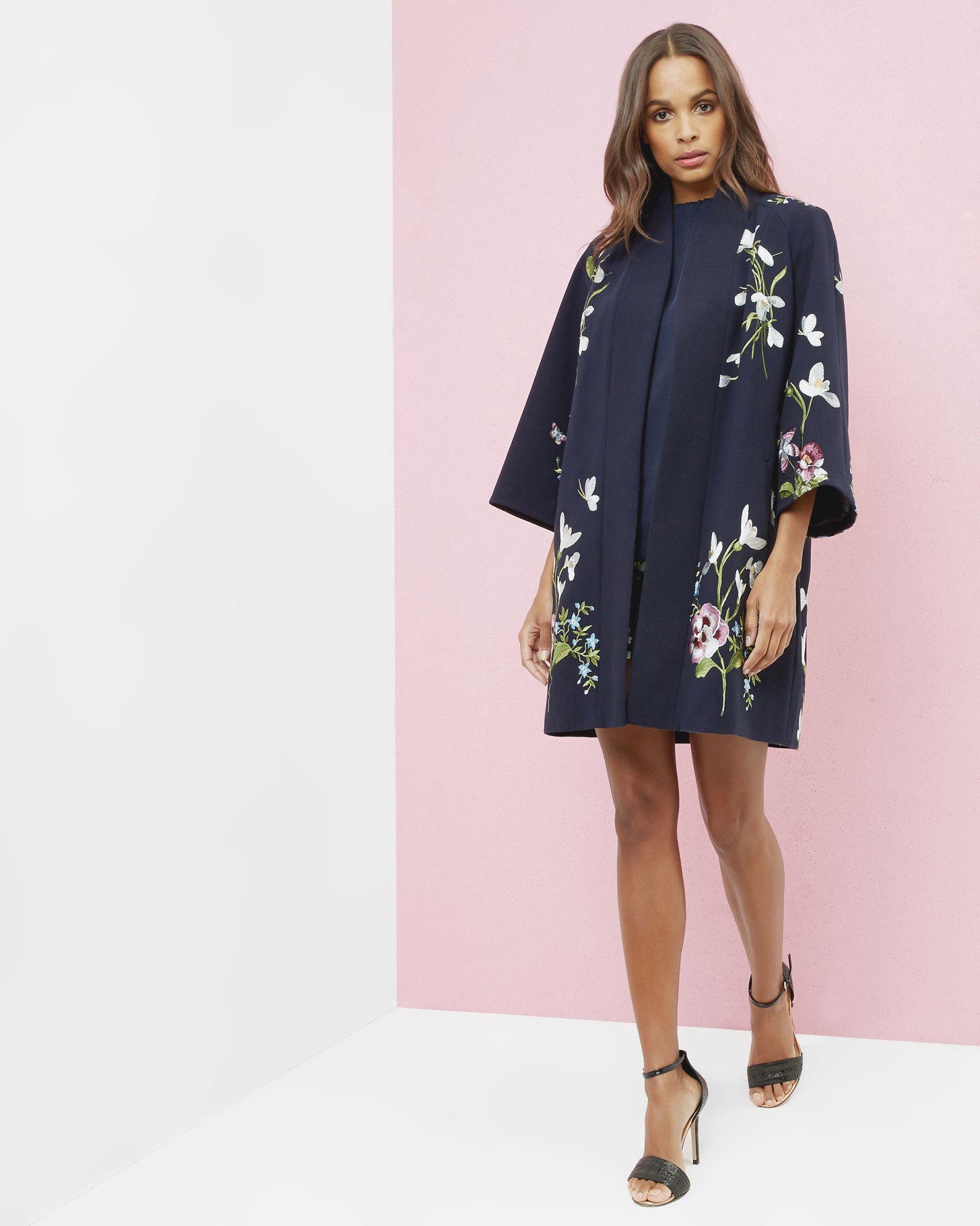 Spring Meadows kimono jacket - Dark Blue | Jackets & Coats | Ted ...