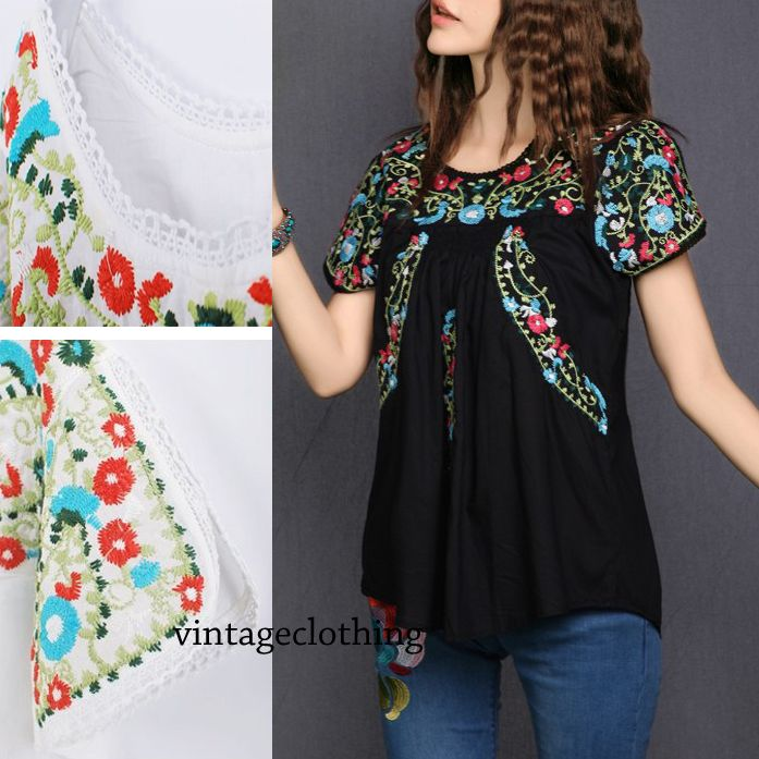 item 3 - vintage70s Mexican Ethnic Floral EMBROIDERED Hippie Blouses/Shirt  Women summer
