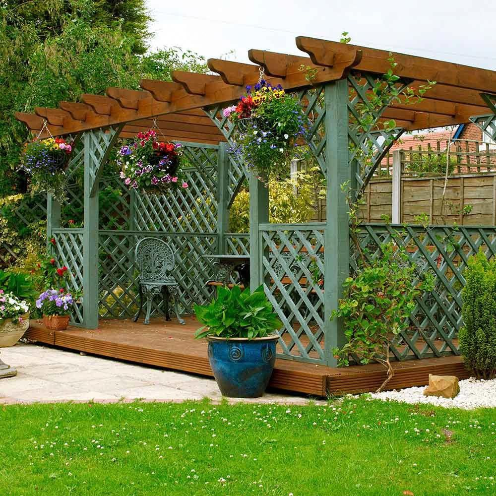 this ground-level deck with pergola and lattice sides makes for a