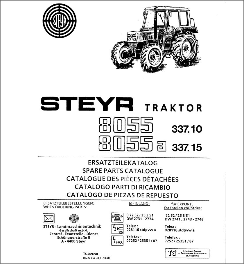 Steyr 8055 8055A Spare Parts Catalog download in 2020