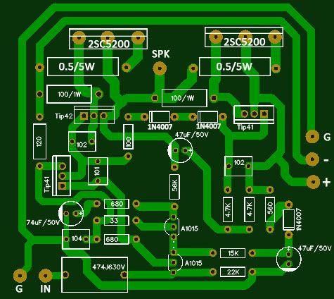 Circuit       Amplifier    using 2SC5200 x 2   100w in 2019   Hifi