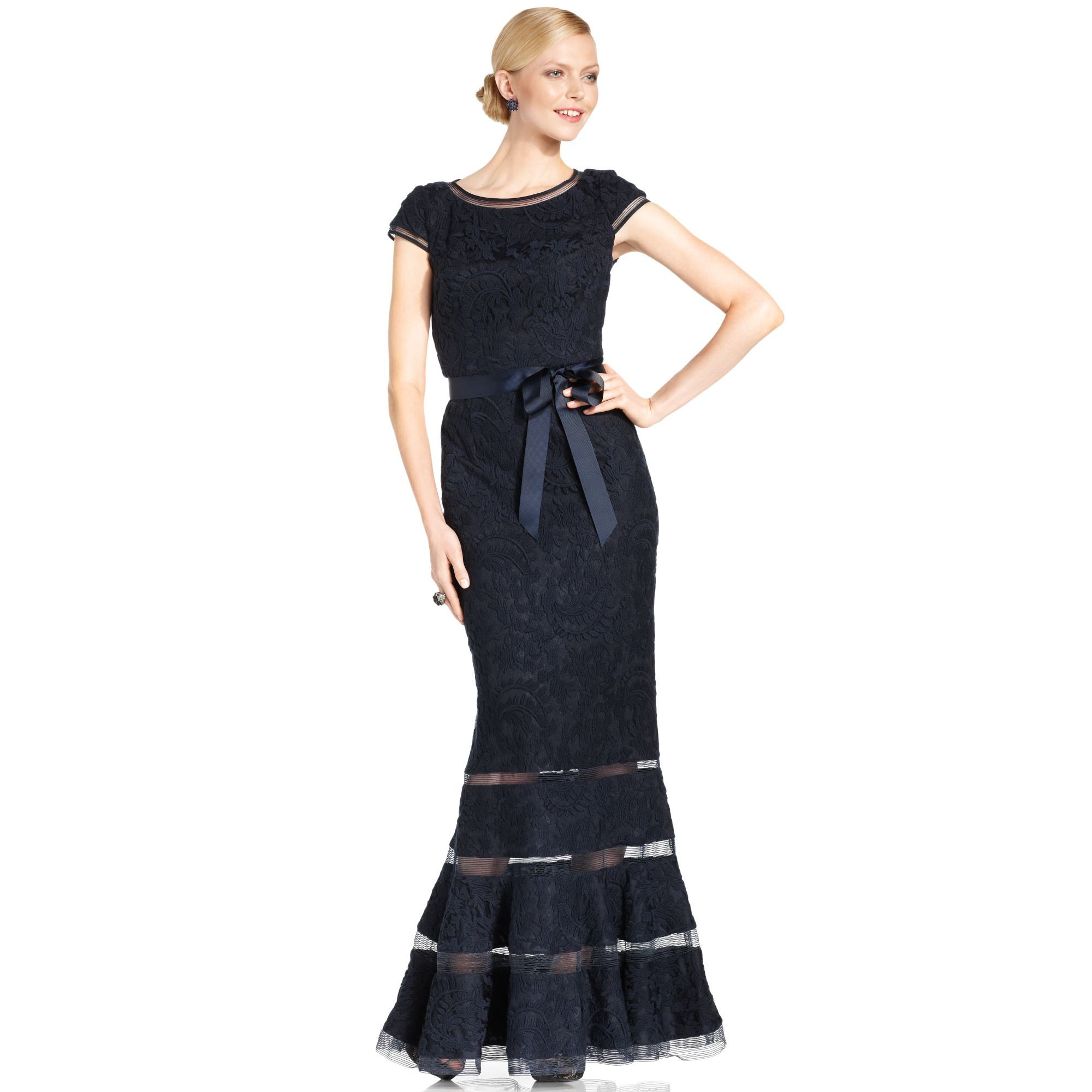 Women\'s Blue Capsleeve Lace Illusion Gown | Adrianna papell ...