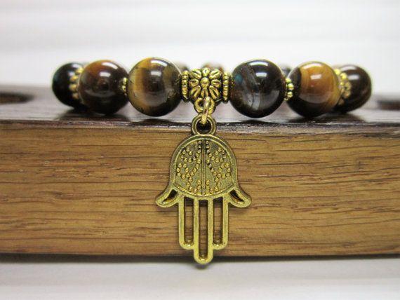 Hamsa Hand Bracelet , Fatima Hand Gemstone Bracelet, Hamsa Charm Bracelet Defense Against Evil Eye Bracelet, Hamsa Meditation Yoga Bracelet