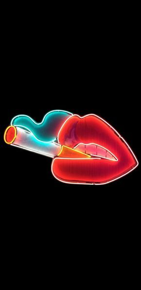 Neon Smoking Lips - Wallpaper