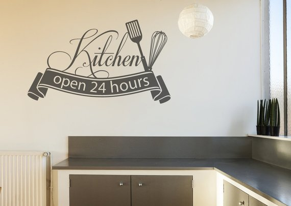 Kitchen Open 24 Hours Wall Decal Kitchen Decals Kitchen Wall