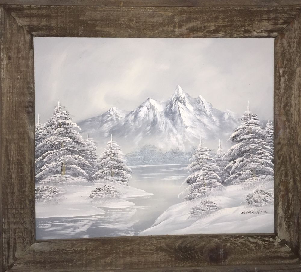BARRISTER LG WINTER SNOW SCENE OIL PAINTING CANVAS WOOD FRAME 31\