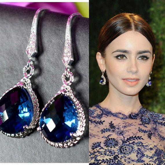 Bridesmaid Jewelry Shire Blue Gold Drop Earrings Wedding Bridal Dangle Gift Via Etsy