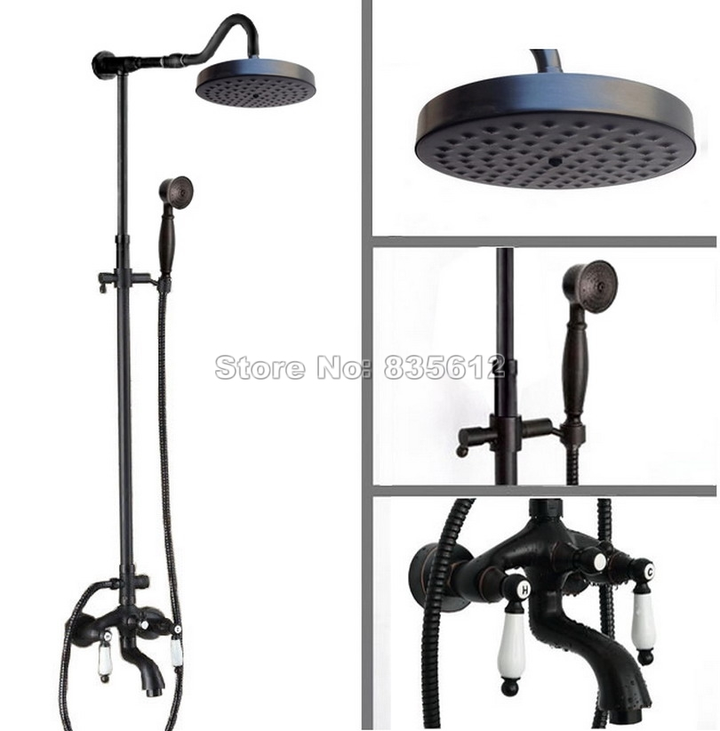 146.99$ Watch now - Black Oil Rubbed Bronze Luxury Round Shower Head ...