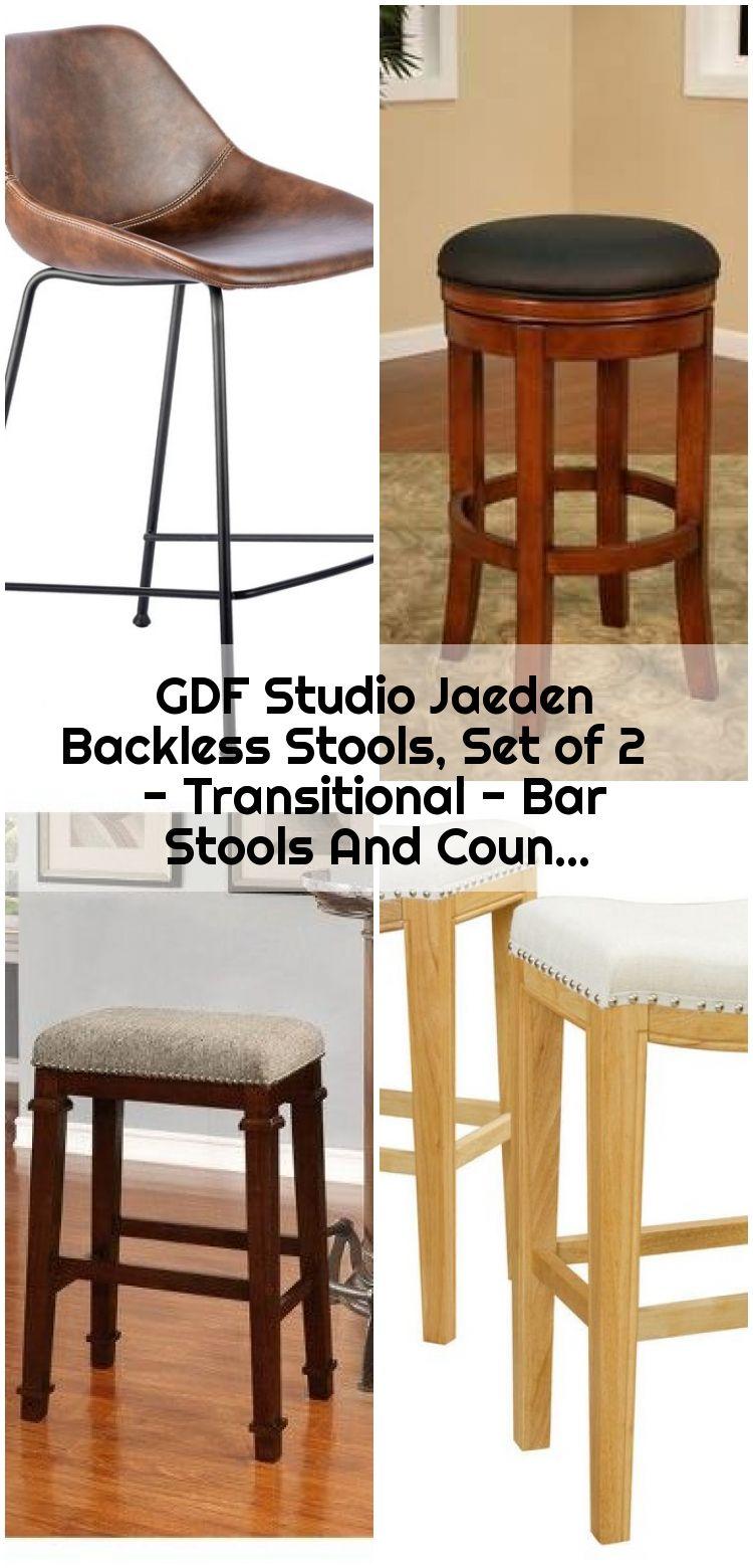 Gdf Studio Jaeden Backless Stools Set Of 2 Transitional Bar