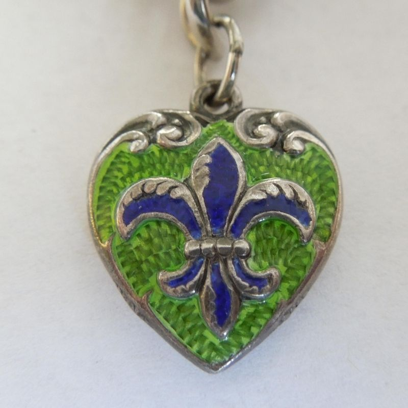 Victorian Puffy Heart Charm ~ Guilloche Green and Blue Enamel Fleur-de-Lis ~ Engraved 'L'. 156.00