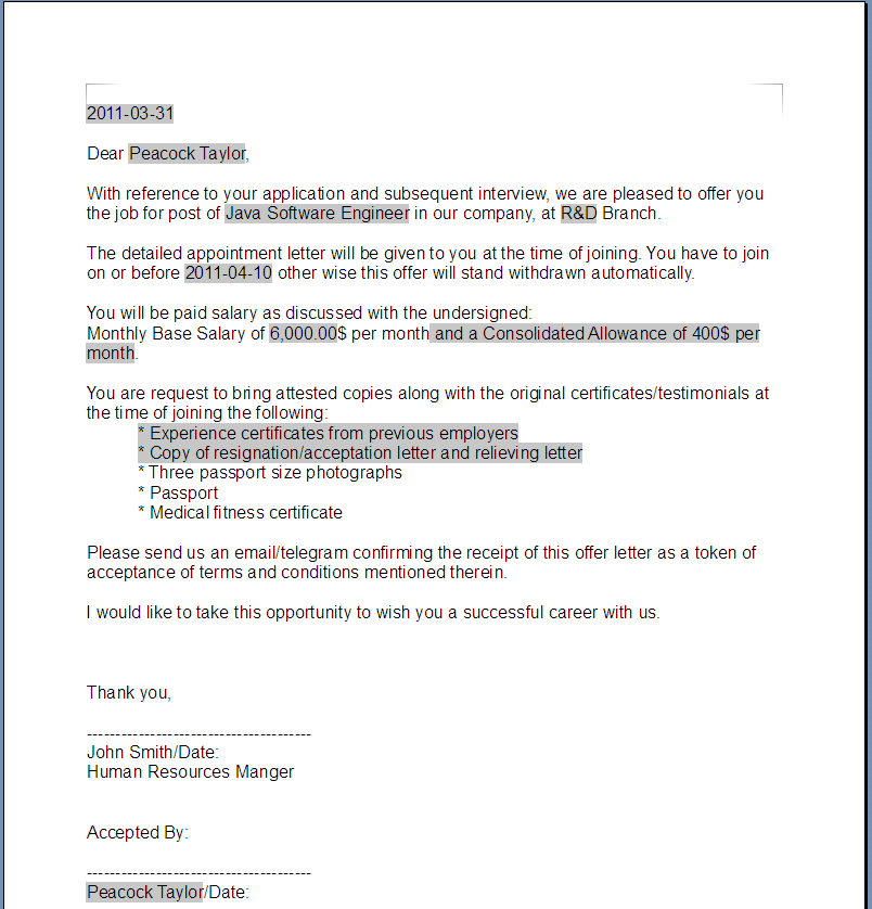 GeneratedOfferLetterPng  Letter Of Offer Template  Legal