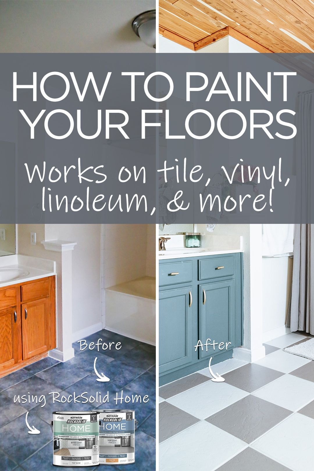 Take Your Bathroom From Dated To Dazzling In A Day By Painting Your Floor This Easy Diy Project Works On Tile Diy Home Repair Home Renovation Home Remodeling