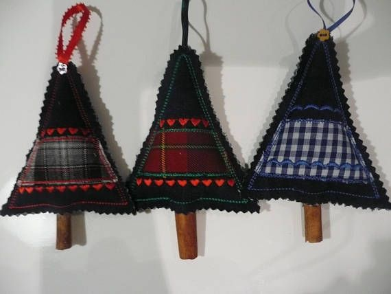 Denim Christmas Tree Decorations Set of 3 Fabric Christmas