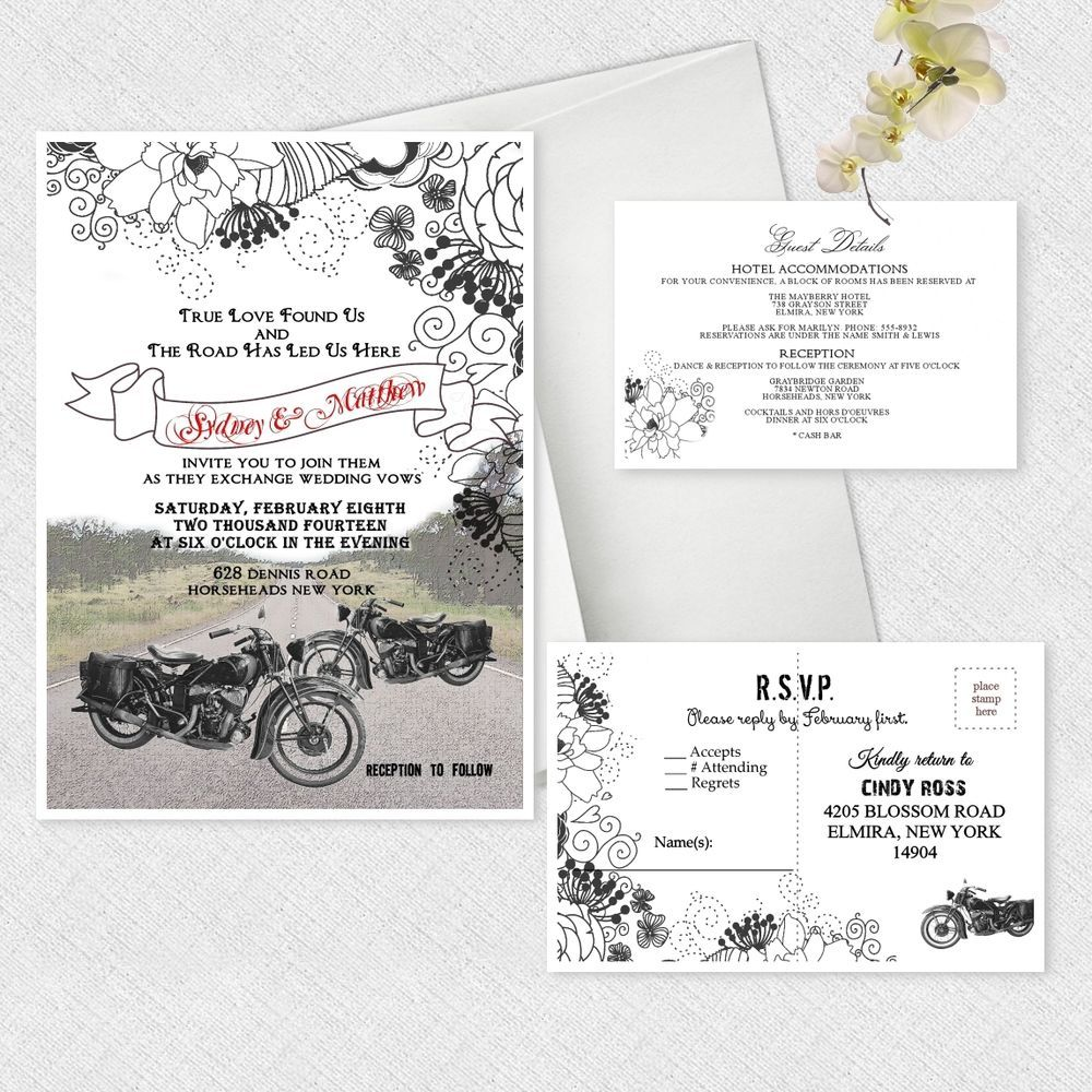 Motorcycle wedding invitations personalized bike bridal shower motorcycle wedding invitations personalized bike bridal shower invitation custom filmwisefo Choice Image