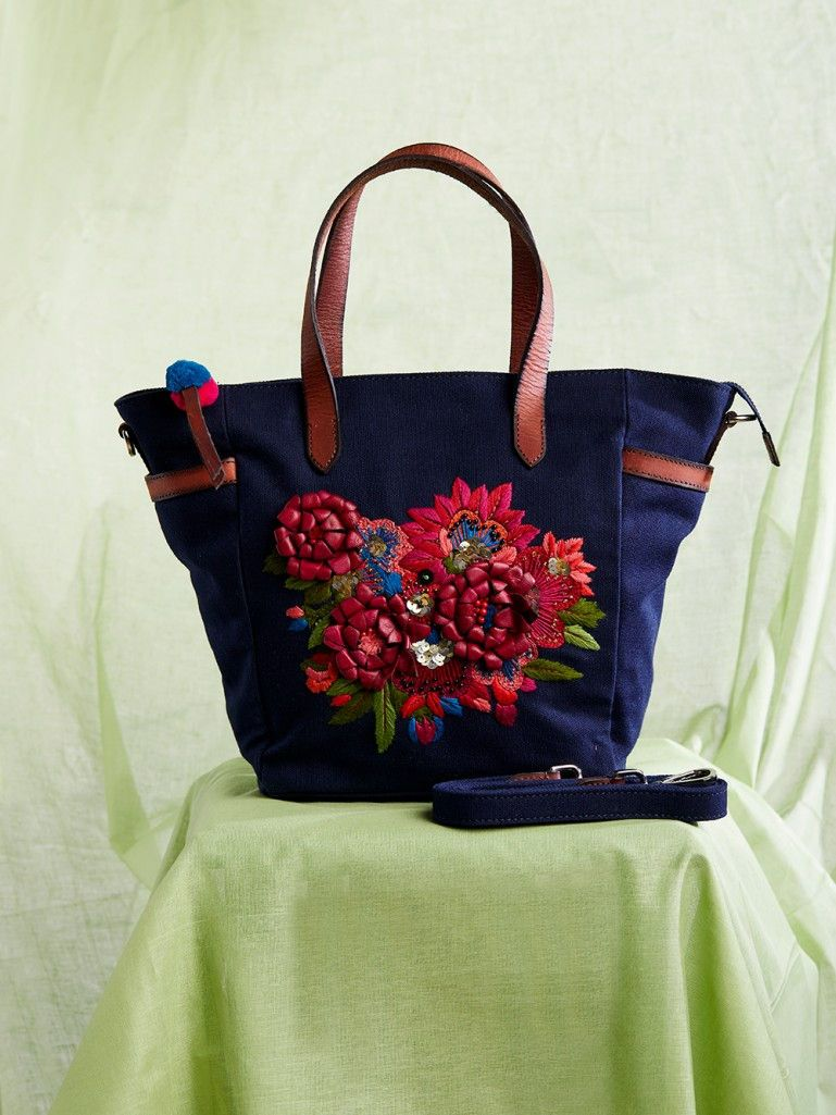 deff8241e23 Navy Blue Hand Embroidered Canvas Tote Bag   bags and accessories ...