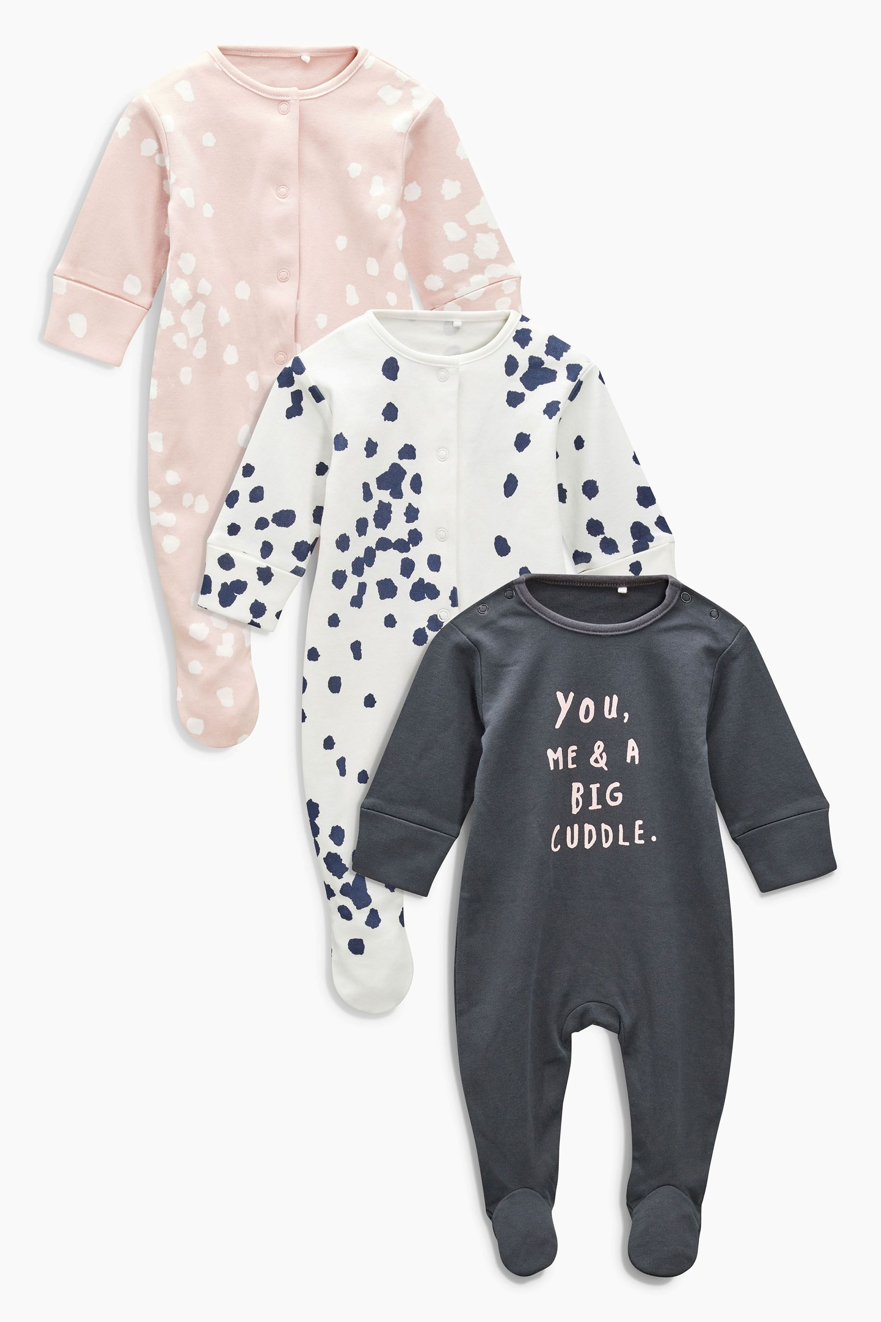 Buy Pink/Grey Spot Print Sleepsuits Three Pack (8mths-8yrs) from