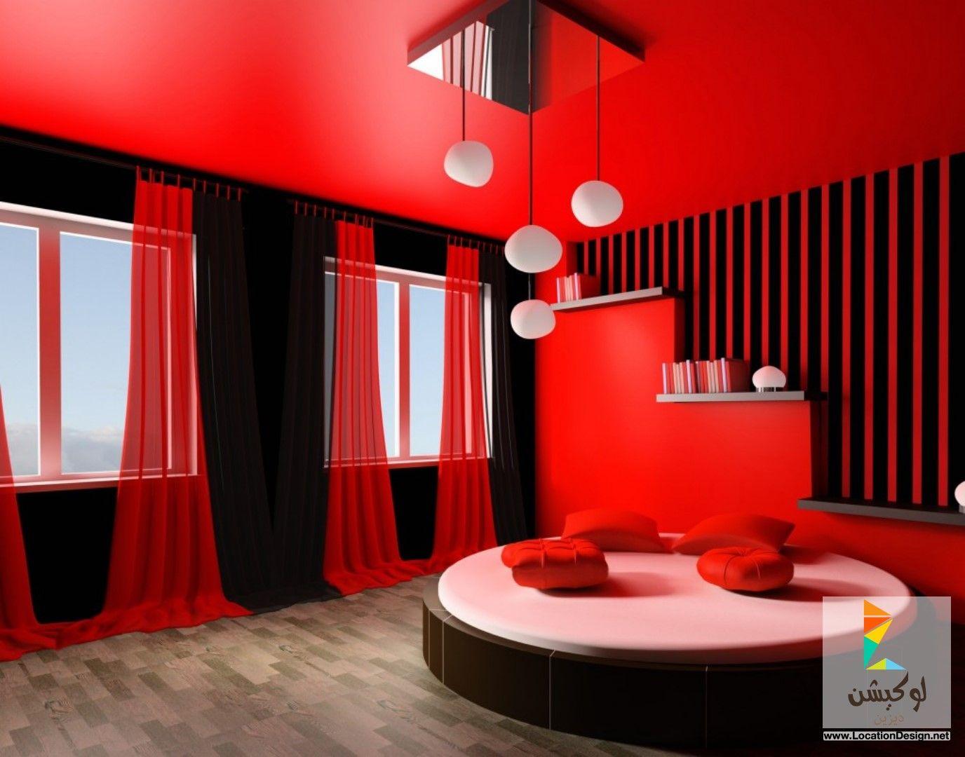 غرف نوم أحمر وأسود | ديكورات غرف نوم | Pinterest