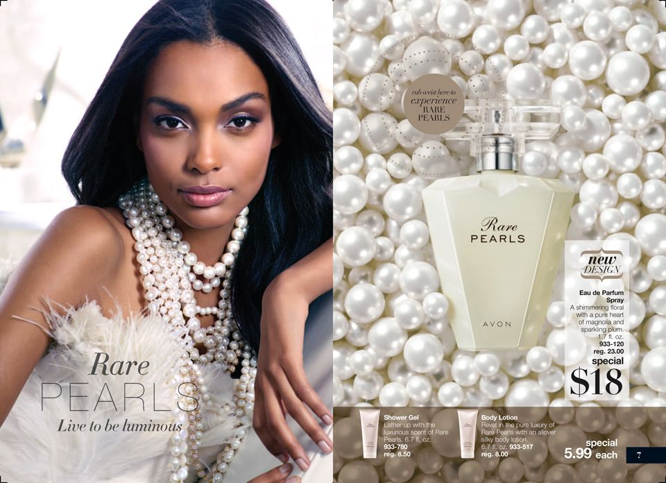 Pretty new bottale deisgn for Avon longtime favorite fragrance Rare Pearls, infused with Magnolia and sparking plumb, strong and lasting fragrance I always can tell someone is wearing Rare Pearls. On Sale now for only $18. Take an additional 20% off when you spend $50 by typing discount code AVONFB20 Get the matching lotion and body wash for a great layering effect
