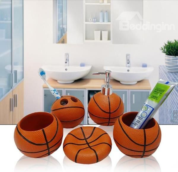 Ordinaire Unique Fashion Basketball Image 5 Piece Bathroom Accessories