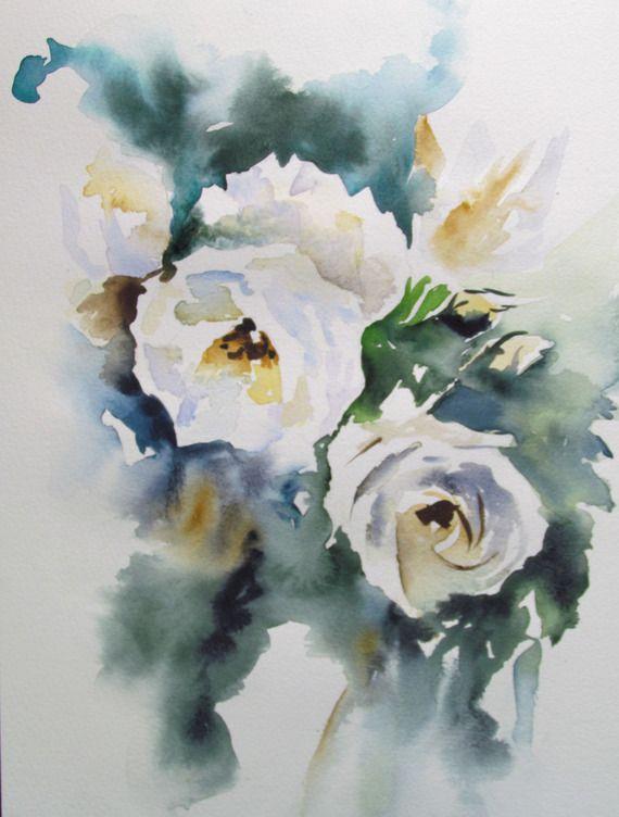 Aquarelle De Roses Anciennes Sur Papier 300gr Aquarelle Fleurs