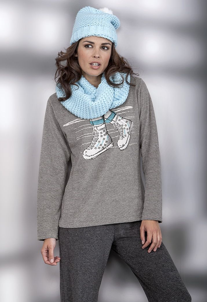 Pijama mujer en terciopelo micro listado Massana