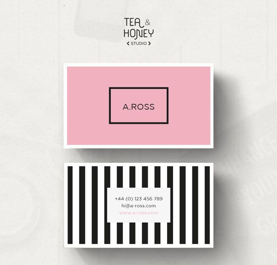 unique and modern business card design pink and black stripes