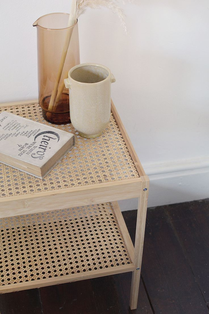 Photo of rattan bedside table IKEA hack