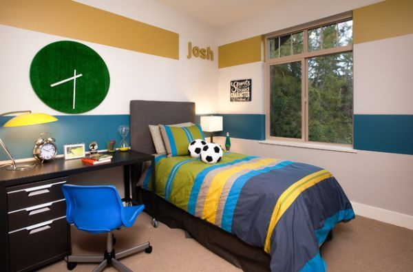 Boys Bedroom Paint Ideas Stripes striped-colourful-duvet-design-for-grey-modern-bed-with-cool-study