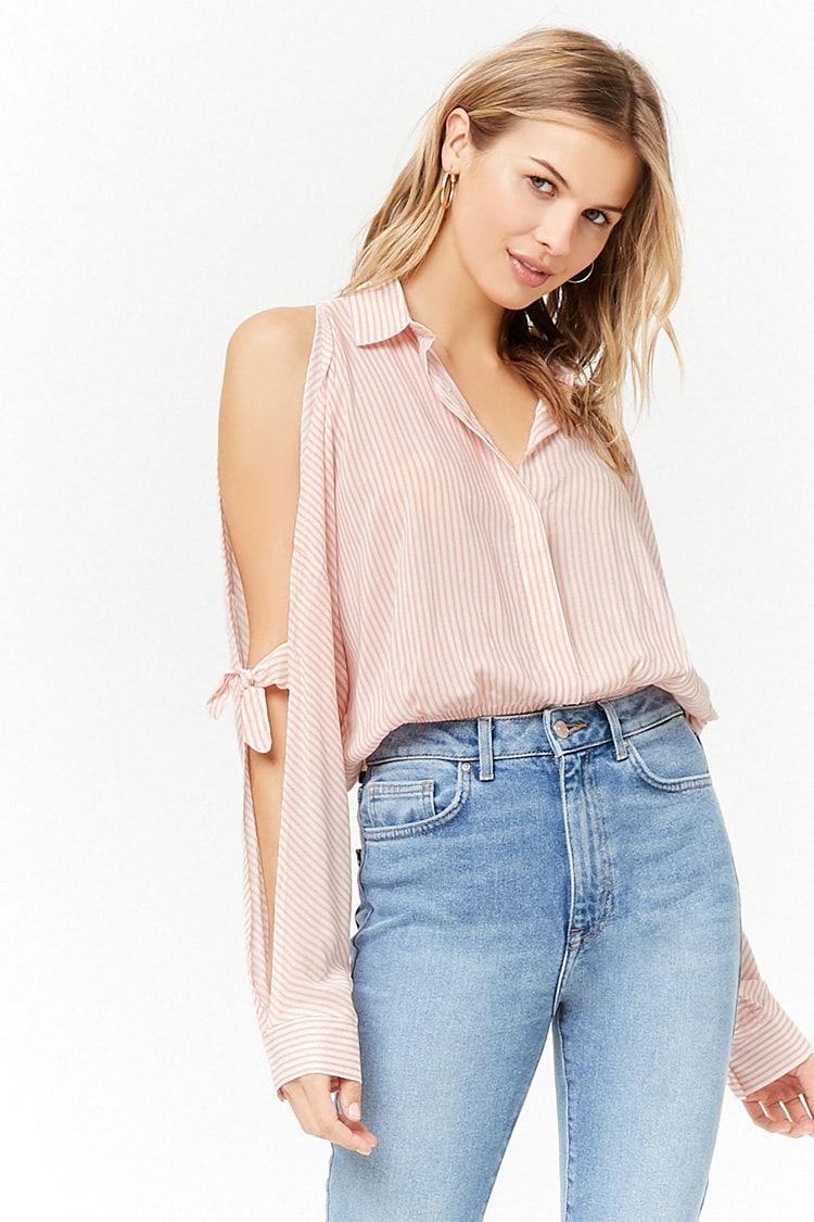 ef4e5cccbe5 Product Name Pinstripe Open-Shoulder Shirt