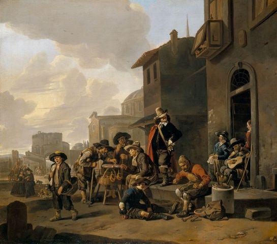 Johannes Lingelbach - Figuren voor een Locanda, met uitzicht op het Piazza del Popolo in Rome