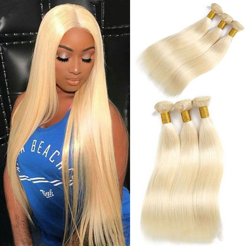 613 Blonde Straight Human Hair Bundles Remy Straight Hair Weave