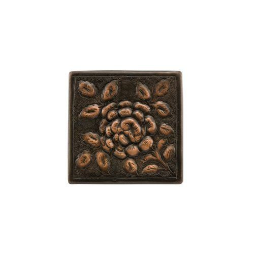 """4"""" Solid Copper Wall Tile with Rose Design - Dark Antique Copper with Highlights by Whittington Collection. $10.95. Accent your kitchen or bath with this beautiful wall tile. It features a charming rose design and is constructed of solid copper. Available in your choice of finish. Handcrafted from solid copper. Shown in Antique Copper. Measures 4-1/4 L x 4-1/4 W. Tile is 1/4 thick."""