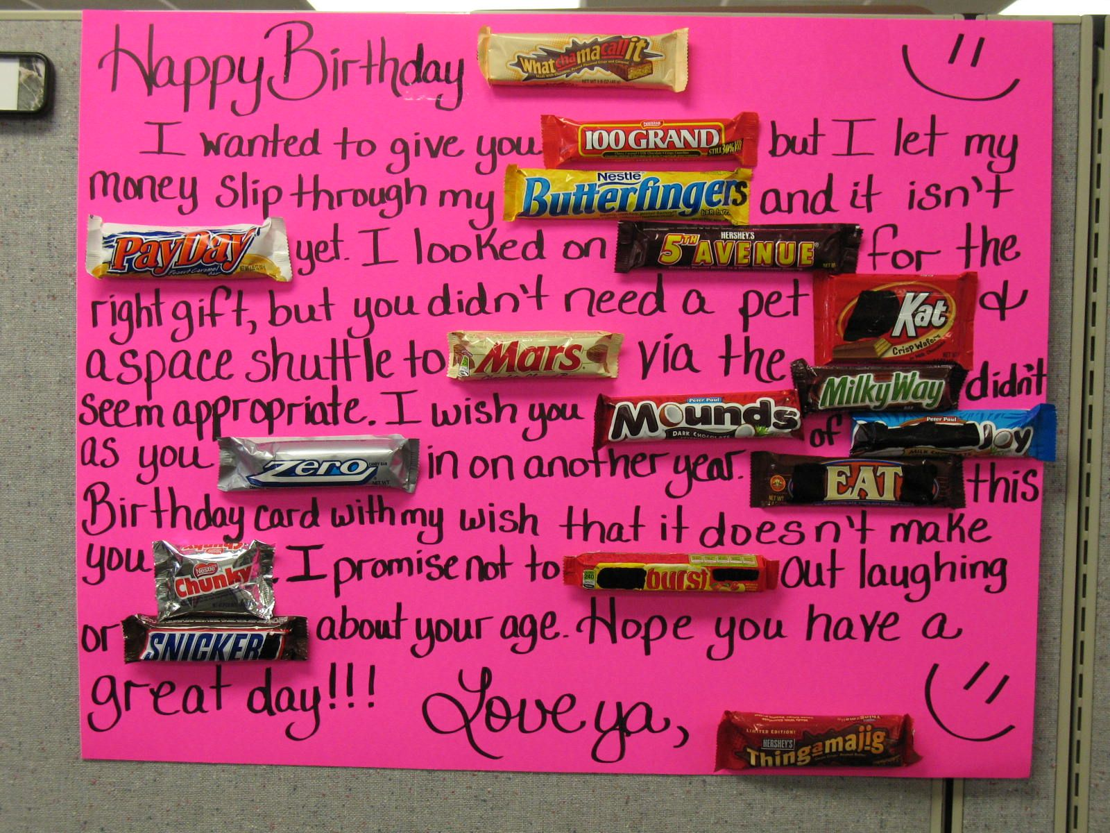 Candy Bar Poster Ideas with Clever Sayings – How to Sign a Birthday Card
