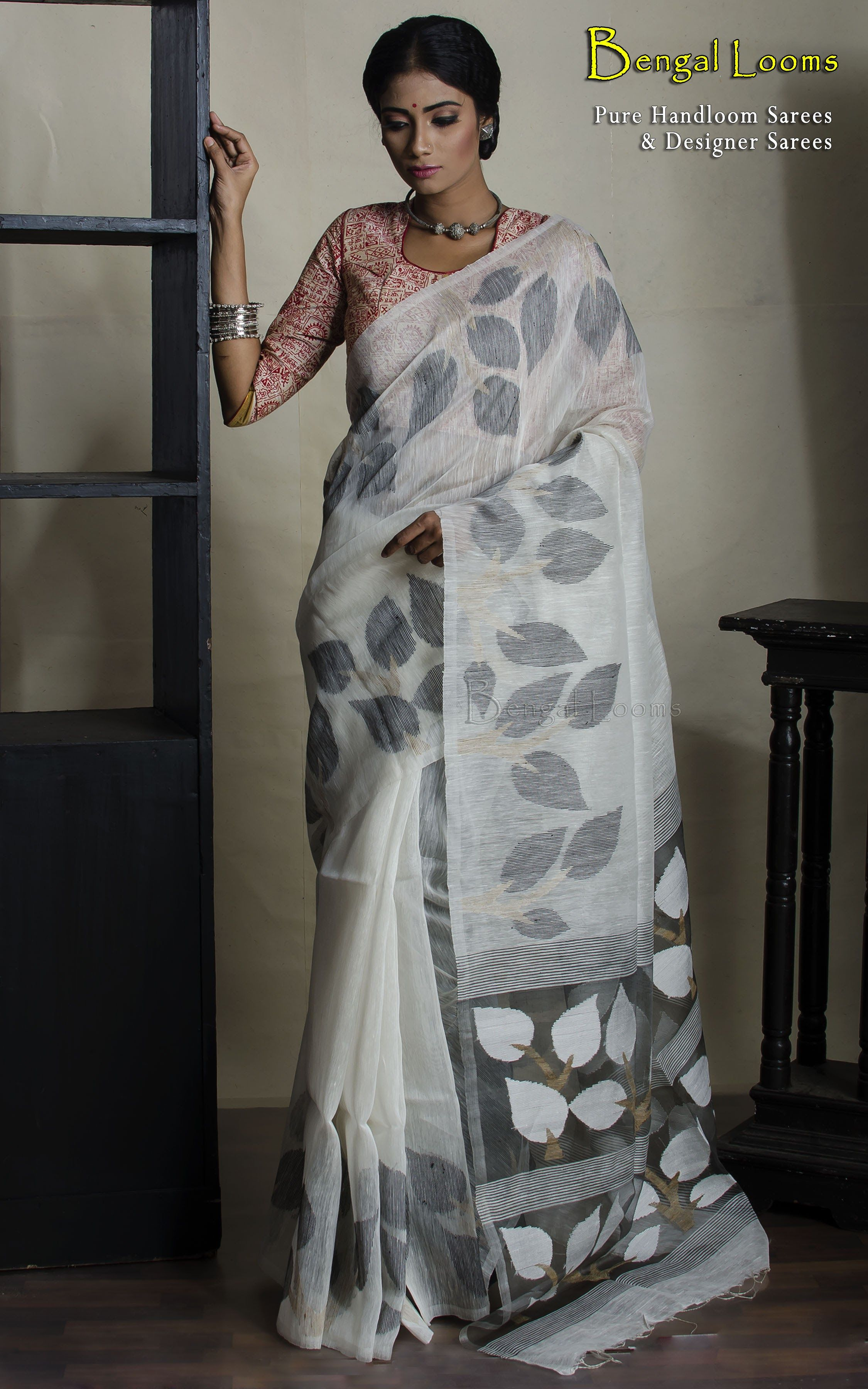 499d28a04f0 Linen Jamdani Saree in Off White with Black body work | online ...