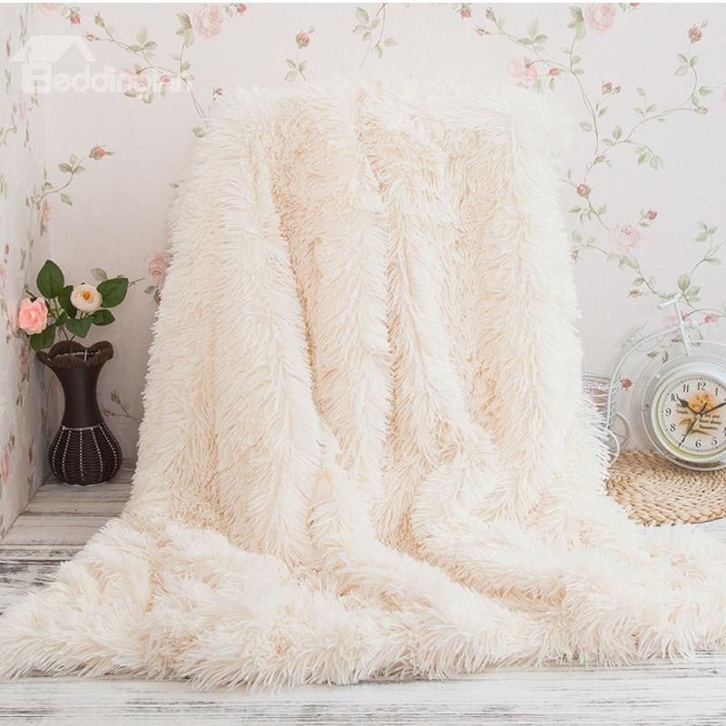 Princess Style Solid White Soft And Fluffy Double Layer Throw Blanket White Throw Blanket Fuzzy Throw Blanket Couch Blanket